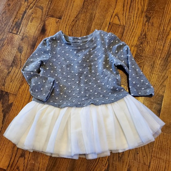 NWOT Baby Gap Heart Sweater Tulle Dress 6-12 Month